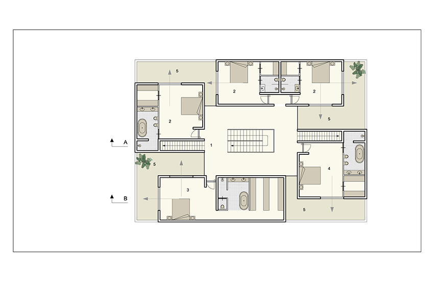 Plan 1st floor family rooms