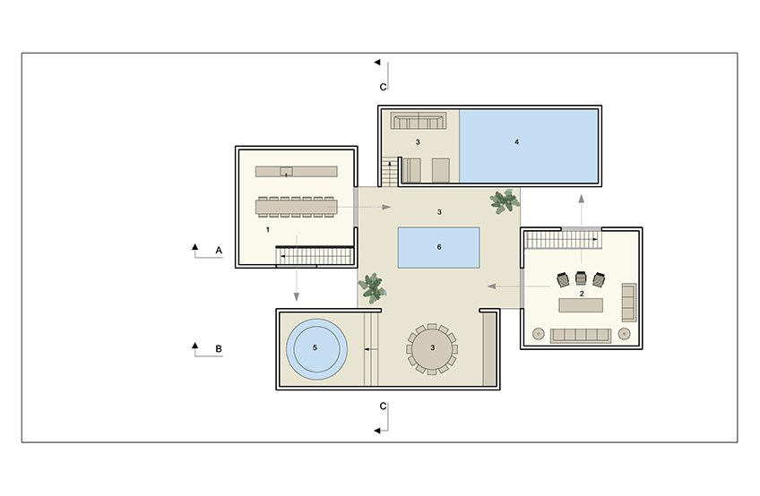Plan 2nd floor family living and terrace